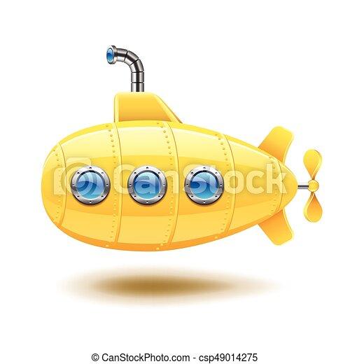 Submarino aislado en vector blanco - csp49014275