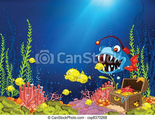 submarino, caricatura, océano - csp8370268