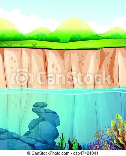 Escena con agua y acantilado - csp47421041