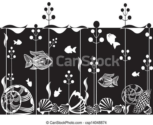 La ilustración de la escena submarina - csp14048874