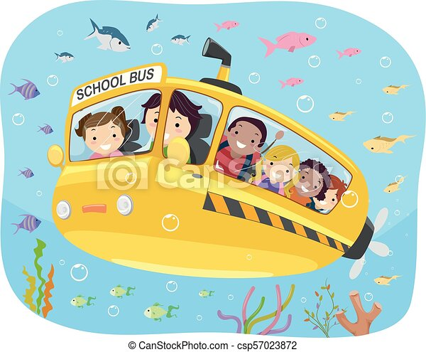 El autobús escolar de Stickman bajo el agua - csp57023872