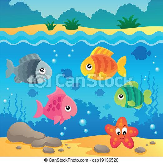 submarino, fauna, 2, tema, océano - csp19136520