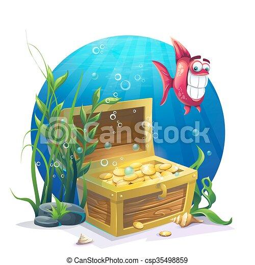 Pecho de oro y peces en la arena bajo el agua - csp35498859