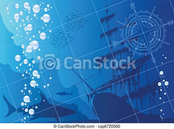 submarino, plano de fondo - csp6720560