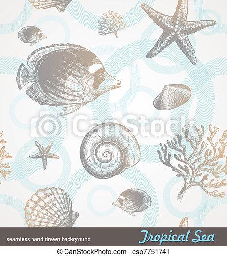 Mano sin costura de vector dibujada a fondo - fauna tropical submarina - csp7751741