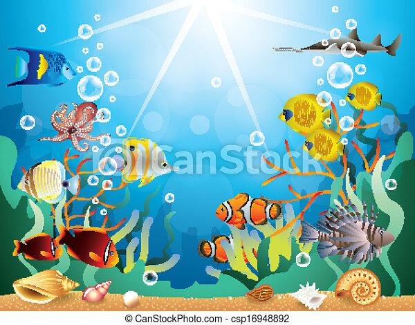 Ilustración vectorial submarina - csp16948892