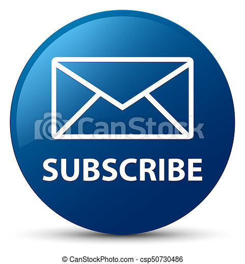 Subscribe (email icon) blue round button - csp50730486