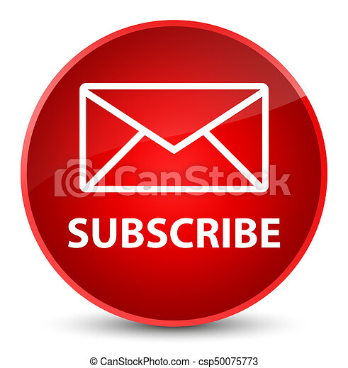 Subscribe (email icon) elegant red round button - csp50075773
