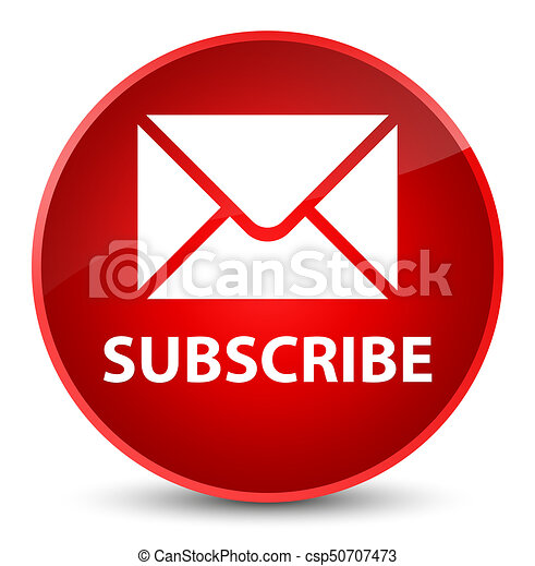 Subscribe (email icon) elegant red round button - csp50707473
