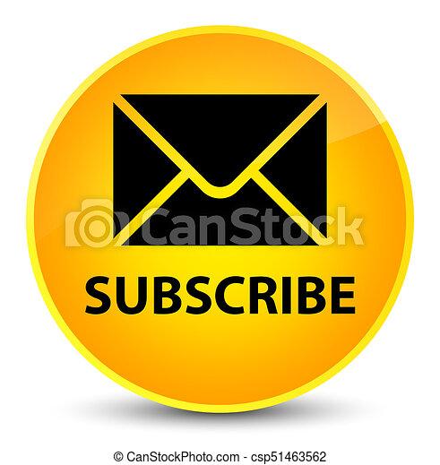 Subscribe (email icon) elegant yellow round button - csp51463562