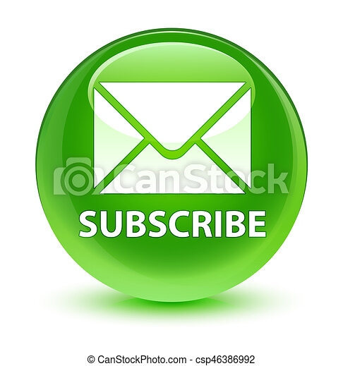 Subscribe (email icon) glassy green round button - csp46386992