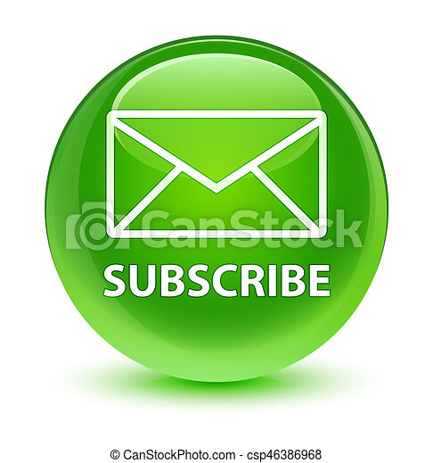 Subscribe (email icon) glassy green round button - csp46386968