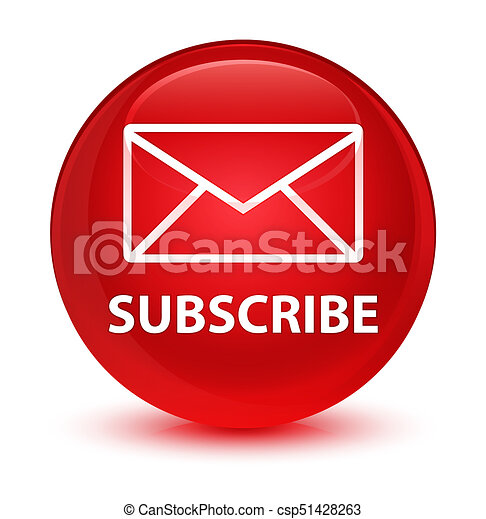 Subscribe (email icon) glassy red round button - csp51428263