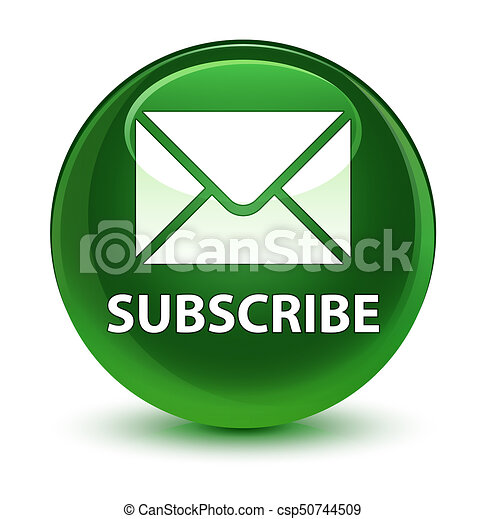 Subscribe (email icon) glassy soft green round button - csp50744509