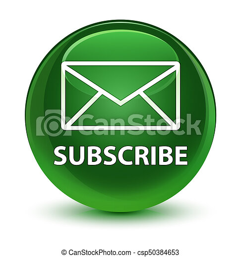 Subscribe (email icon) glassy soft green round button - csp50384653