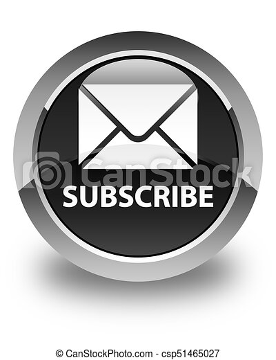 Subscribe (email icon) glossy black round button - csp51465027