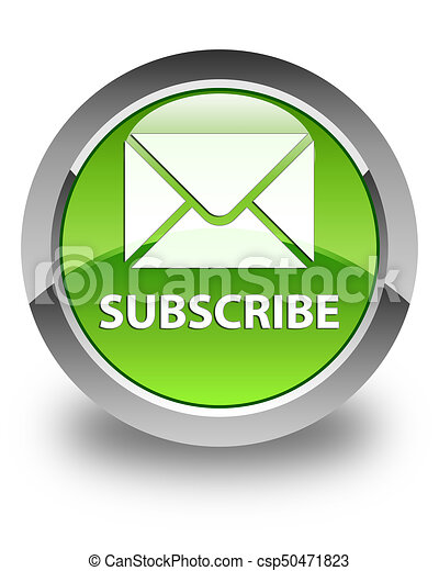 Subscribe (email icon) glossy green round button - csp50471823