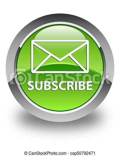 Subscribe (email icon) glossy green round button - csp50792471