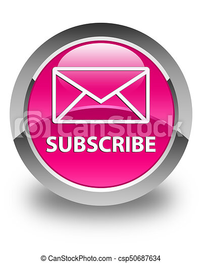 Subscribe (email icon) glossy pink round button - csp50687634