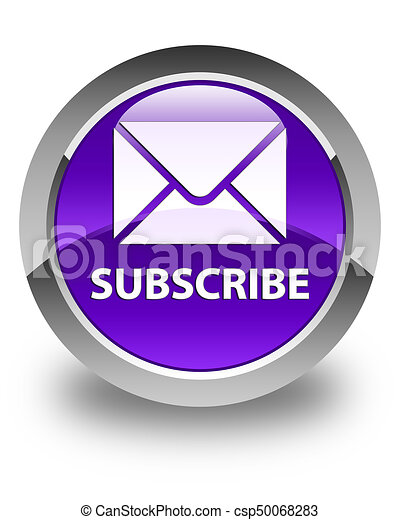 Subscribe (email icon) glossy purple round button - csp50068283