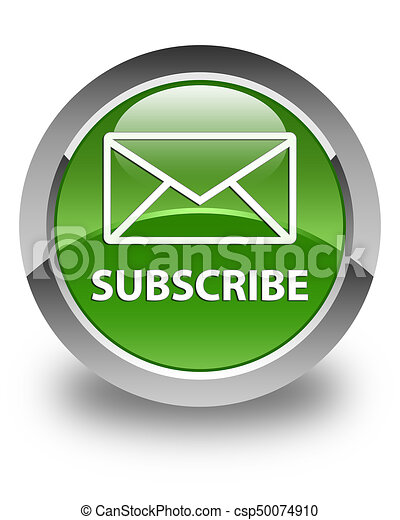 Subscribe (email icon) glossy soft green round button - csp50074910