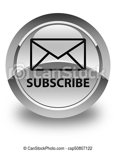 Subscribe (email icon) glossy white round button - csp50807122
