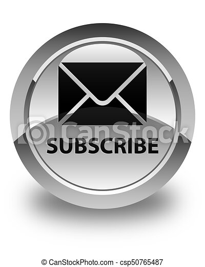 Subscribe (email icon) glossy white round button - csp50765487