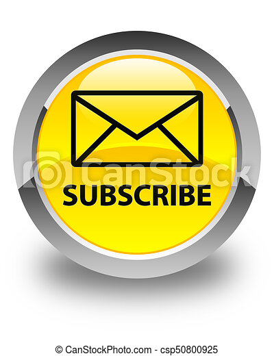 Subscribe (email icon) glossy yellow round button - csp50800925