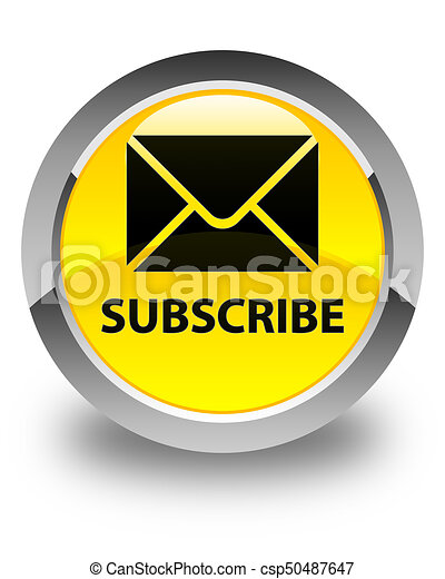 Subscribe (email icon) glossy yellow round button - csp50487647