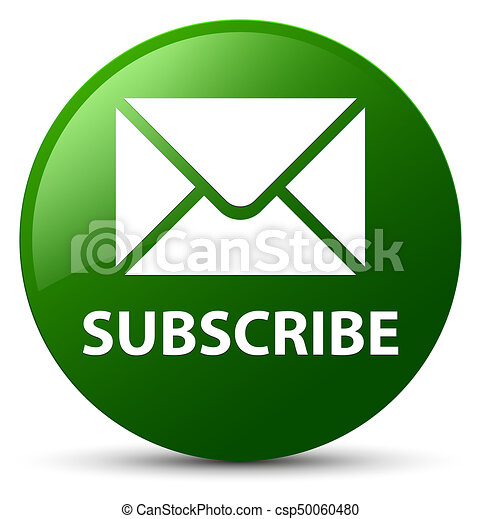 Subscribe (email icon) green round button - csp50060480