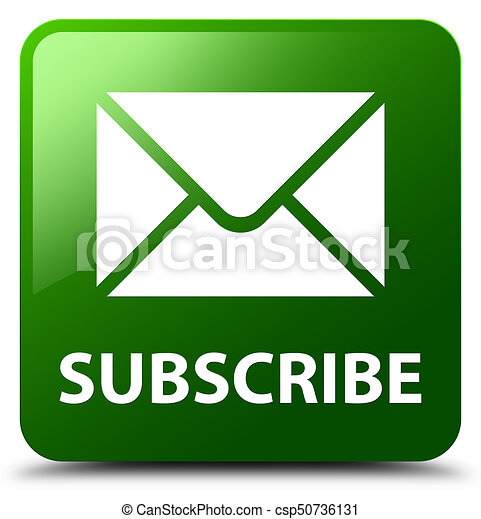 Subscribe (email icon) green square button - csp50736131
