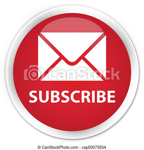 Subscribe (email icon) premium red round button - csp50073554