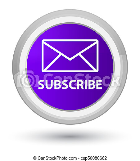 Subscribe (email icon) prime purple round button - csp50080662