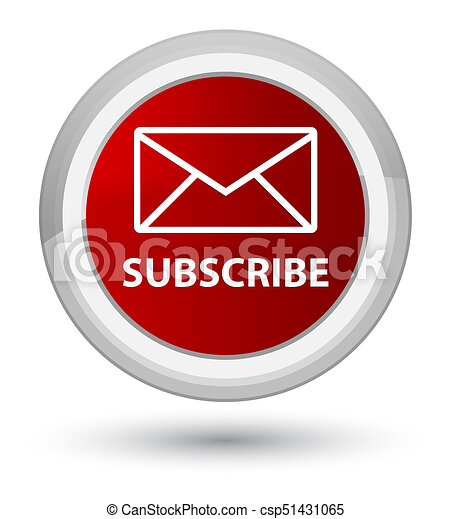 Subscribe (email icon) prime red round button - csp51431065