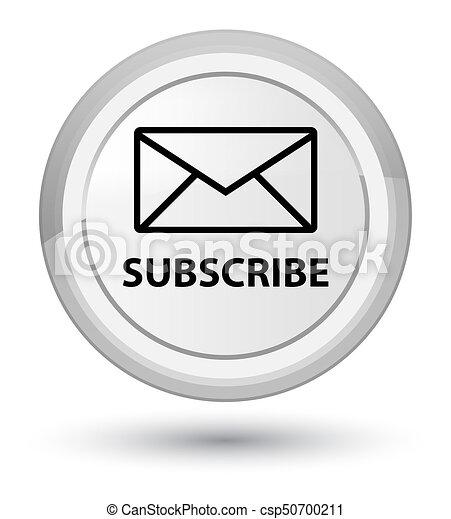 Subscribe (email icon) prime white round button - csp50700211