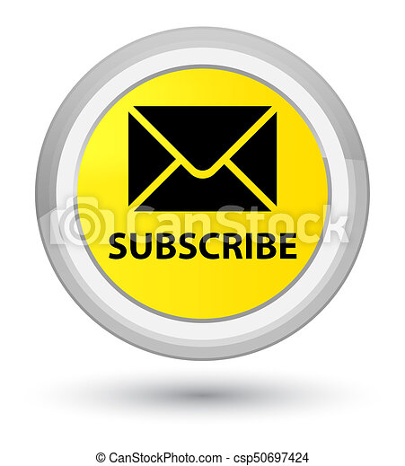Subscribe (email icon) prime yellow round button - csp50697424