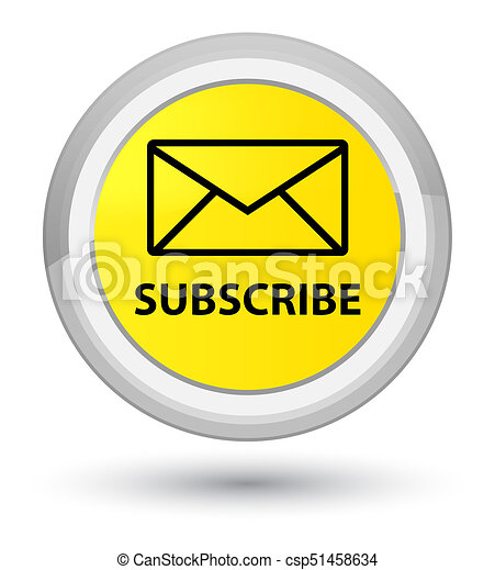 Subscribe (email icon) prime yellow round button - csp51458634