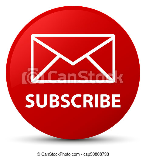 Subscribe (email icon) red round button - csp50808733
