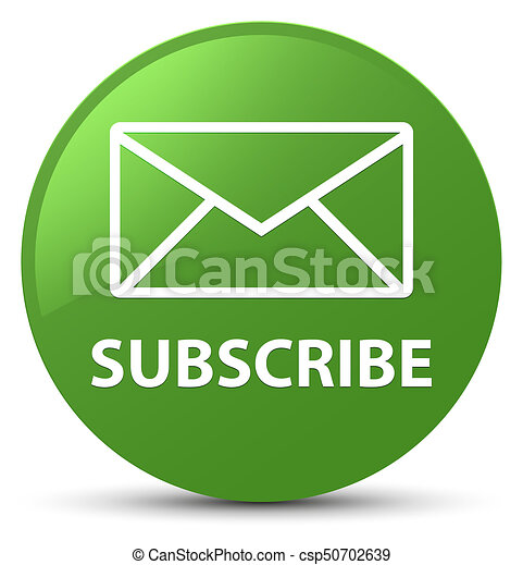 Subscribe (email icon) soft green round button - csp50702639