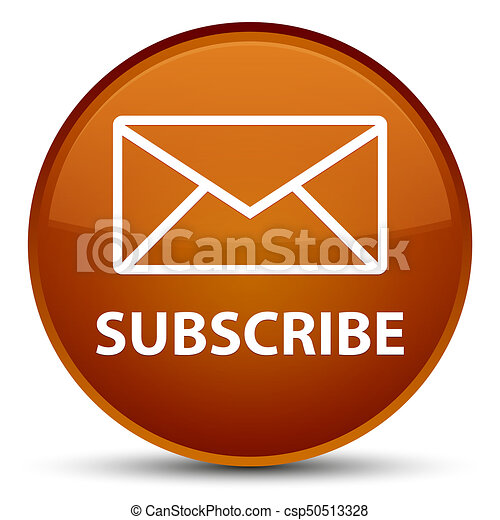Subscribe (email icon) special brown round button - csp50513328