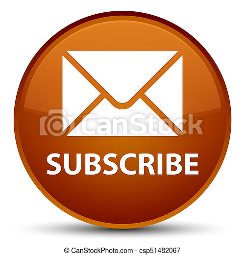Subscribe (email icon) special brown round button - csp51482067