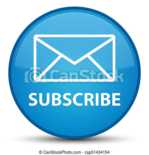 Subscribe (email icon) special cyan blue round button - csp51434154