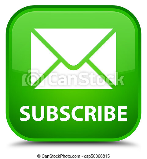 Subscribe (email icon) special green square button - csp50066815