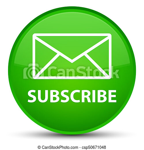 Subscribe (email icon) special green round button - csp50671048