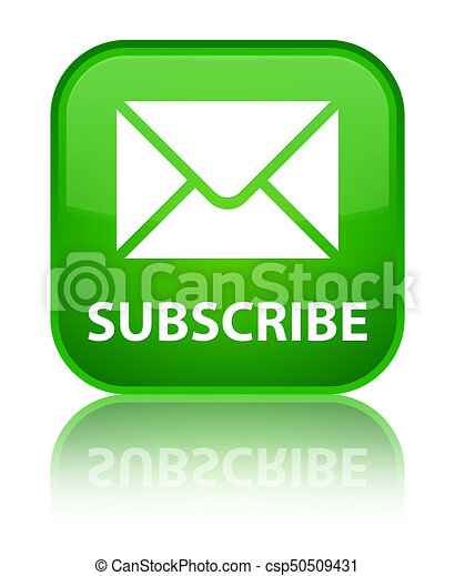 Subscribe (email icon) special green square button - csp50509431
