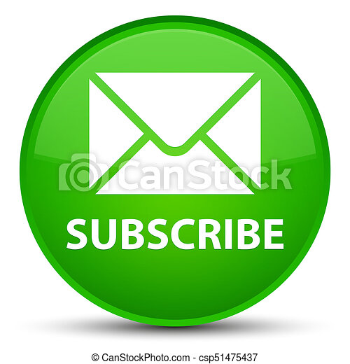 Subscribe (email icon) special green round button - csp51475437