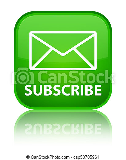 Subscribe (email icon) special green square button - csp50705961