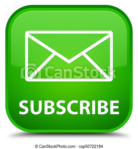 Subscribe (email icon) special green square button - csp50722184