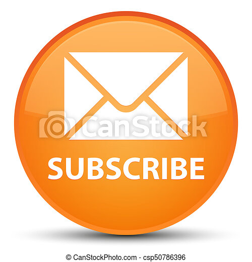 Subscribe (email icon) special orange round button - csp50786396