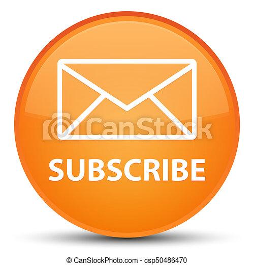 Subscribe (email icon) special orange round button - csp50486470